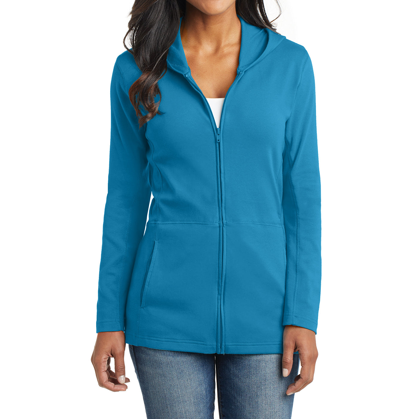Women's Modern Stretch Cotton Full-Zip Jacket - Mosaic Blue - Front