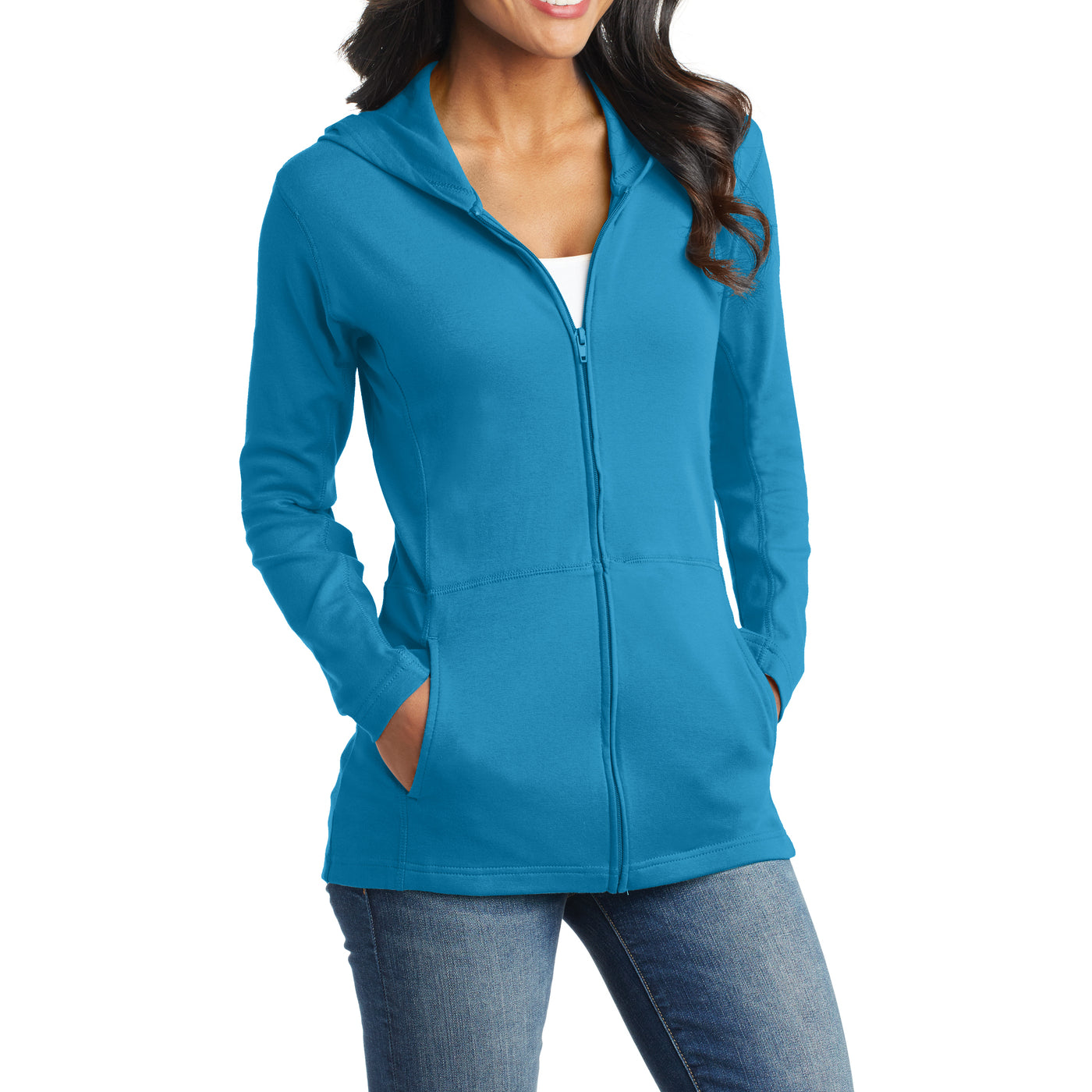 Women's Modern Stretch Cotton Full-Zip Jacket - Mosaic Blue - Side