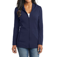Women's Modern Stretch Cotton Full-Zip Jacket - True Navy - Front
