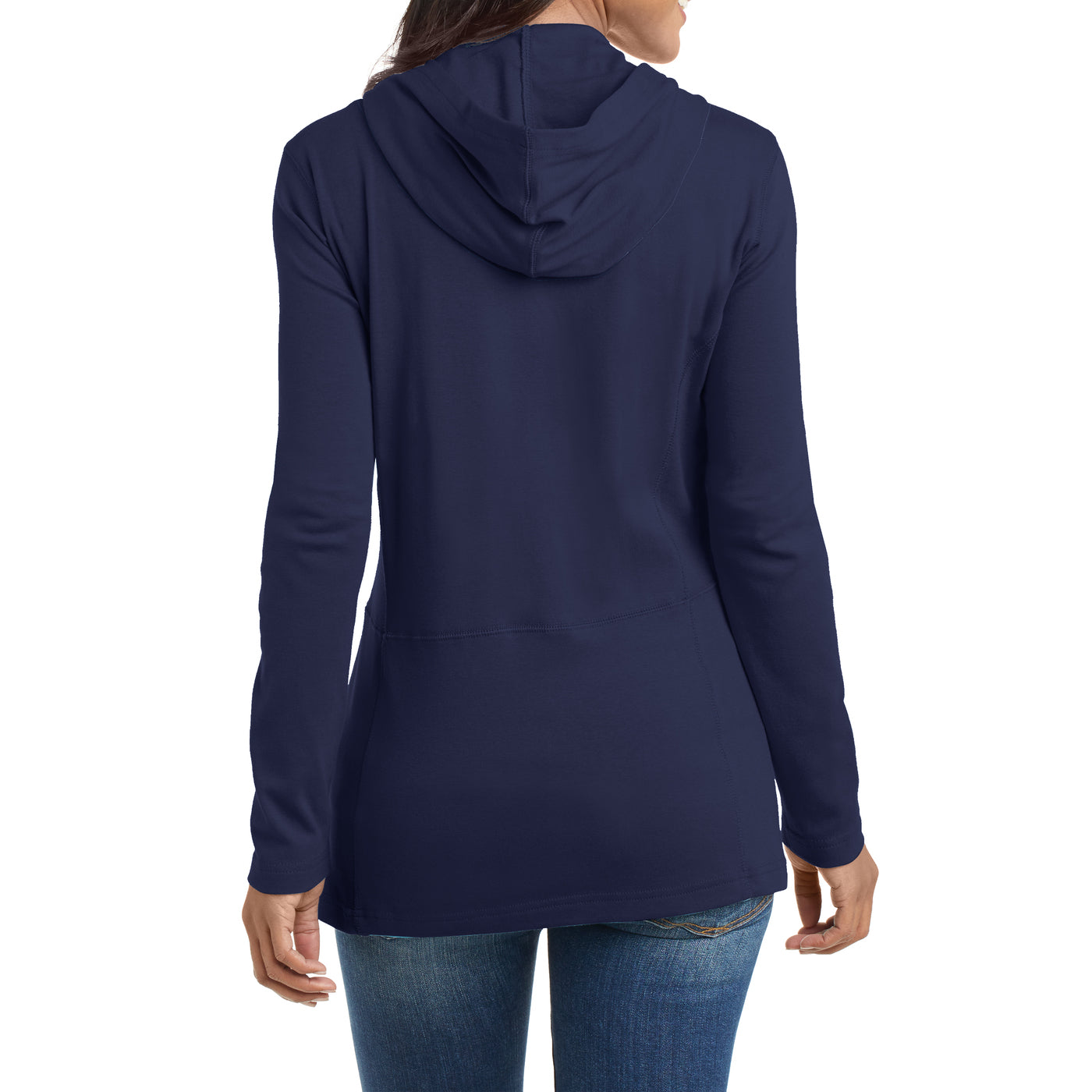 Women's Modern Stretch Cotton Full-Zip Jacket - True Navy - Back