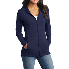 Women's Modern Stretch Cotton Full-Zip Jacket - True Navy - Side