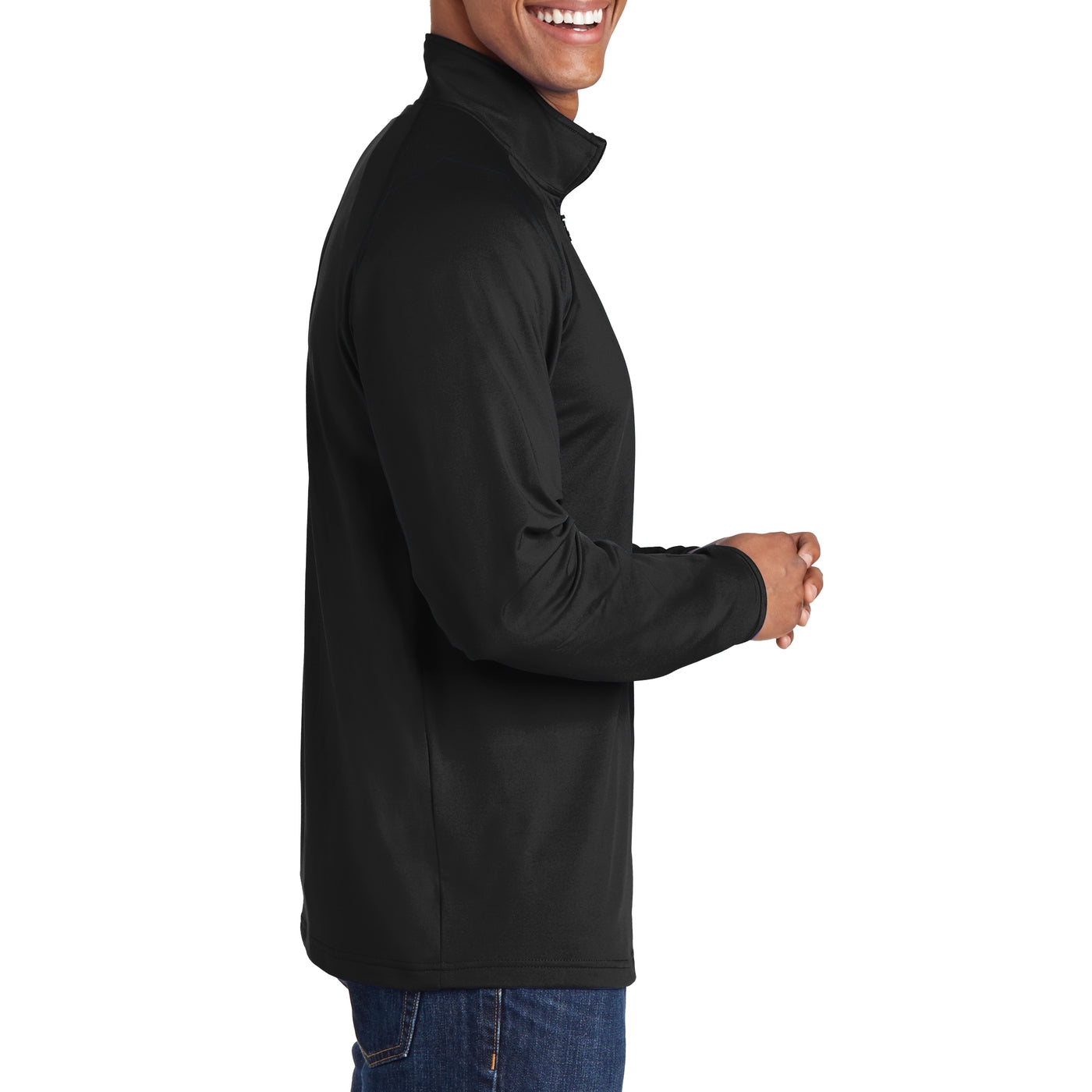 Men's Stretch 1/2 Zip Pullover - Black