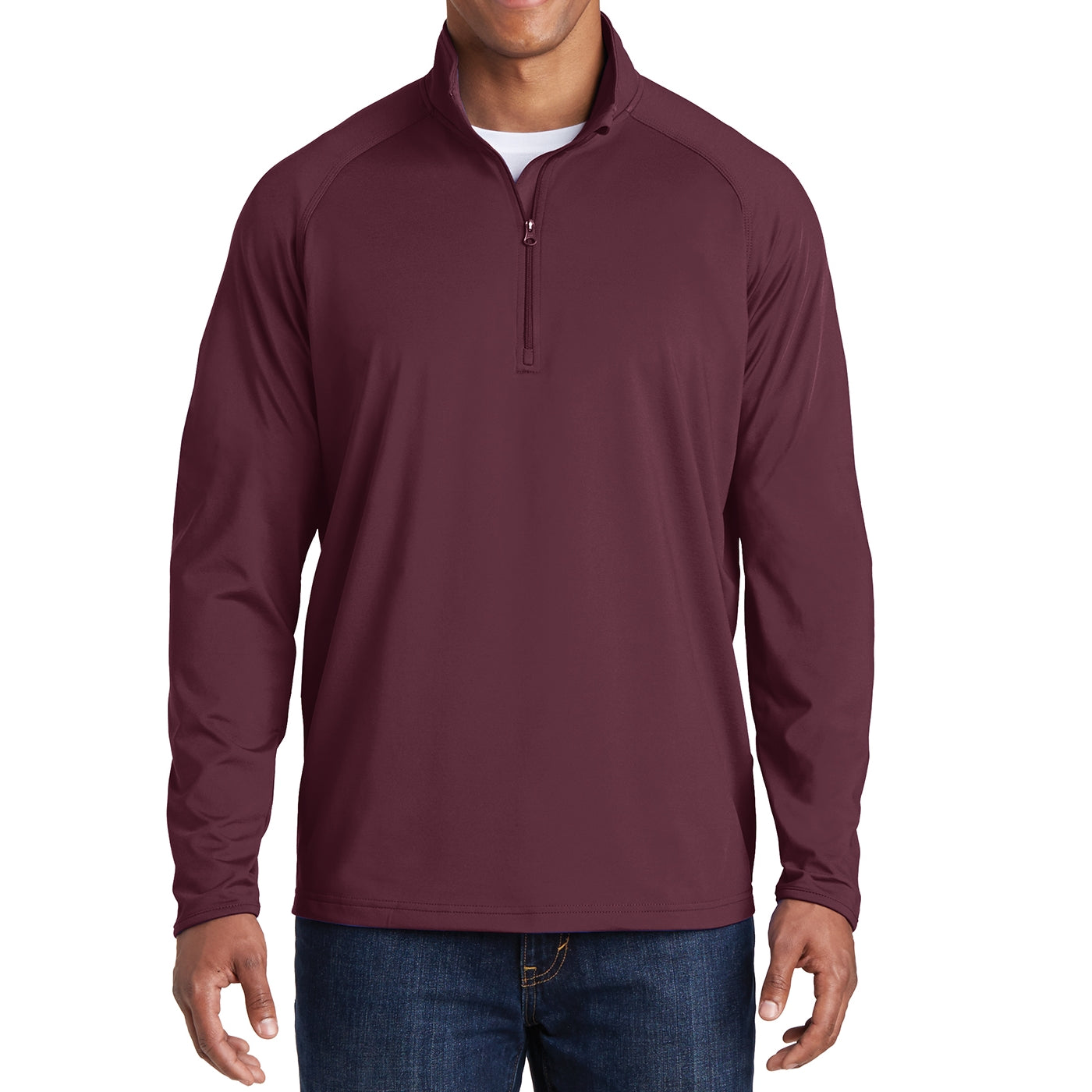 Men's Stretch 1/2 Zip Pullover - Maroon
