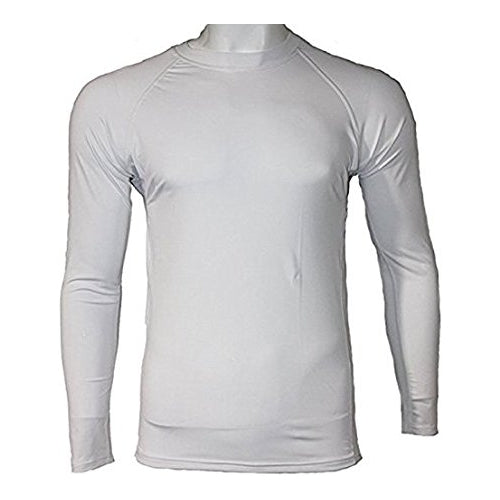 Men's Fitness Workout Base Layer Compression Shirt Long Sleeve - White
