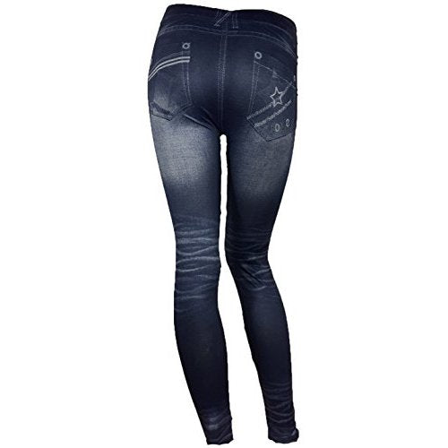 Women's Jean Pattern Stretch Spandex Fashion Leggings - Back