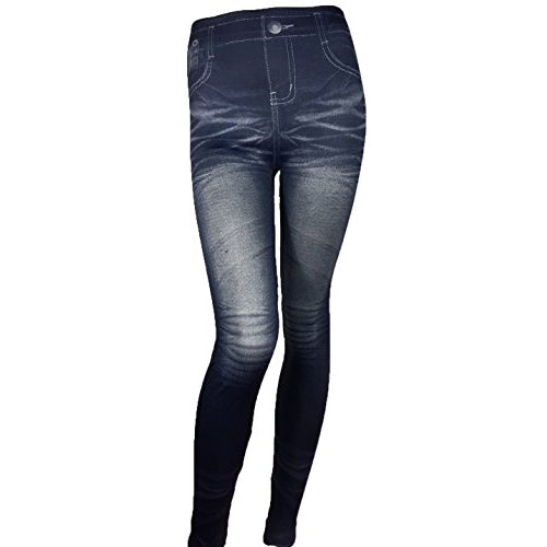 Women's Jean Pattern Stretch Spandex Fashion Leggings - Front