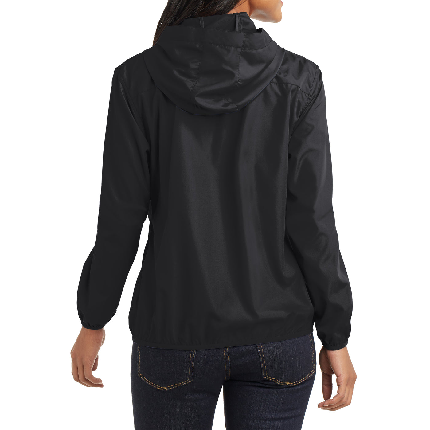 Women's Hooded Essential Jacket - Black - Back