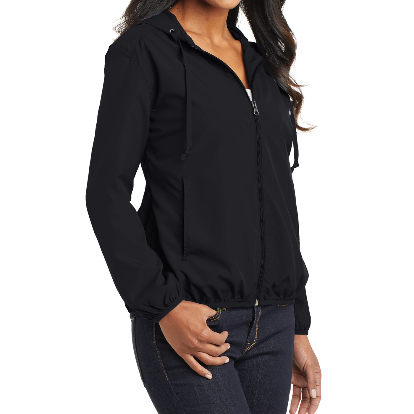 Women's Hooded Essential Jacket - Black - Side