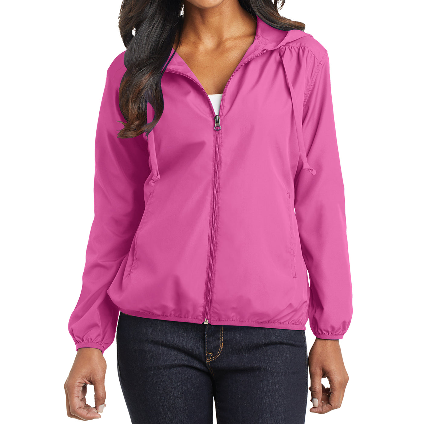 Women's Hooded Essential Jacket - Charity Pink - Front