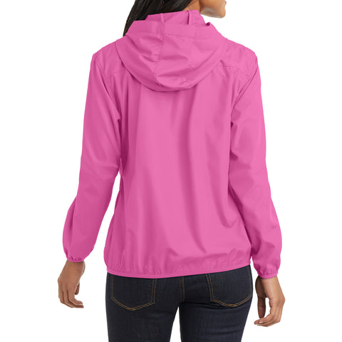 Women's Hooded Essential Jacket - Charity Pink - Back