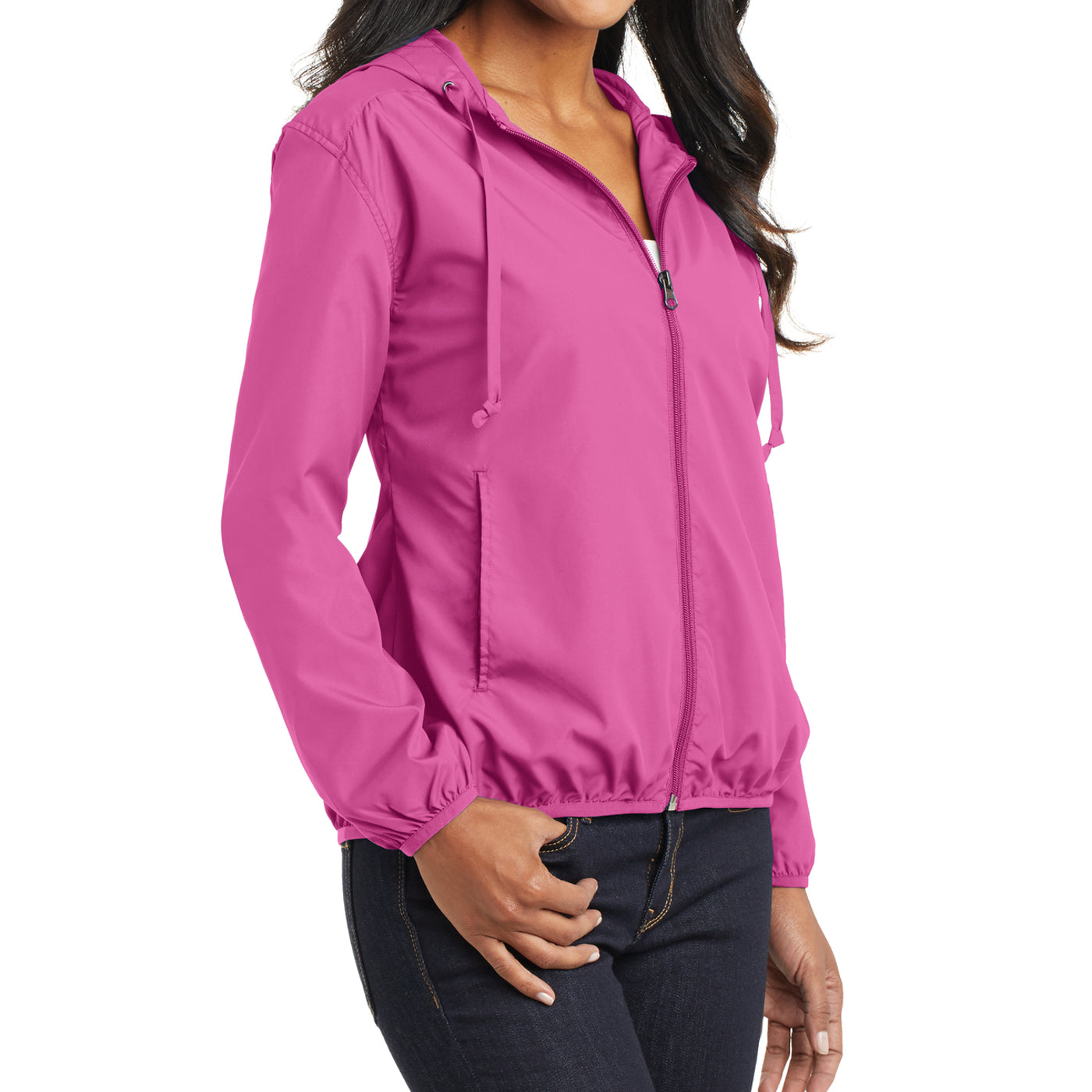 Women's Hooded Essential Jacket - Charity Pink - Side