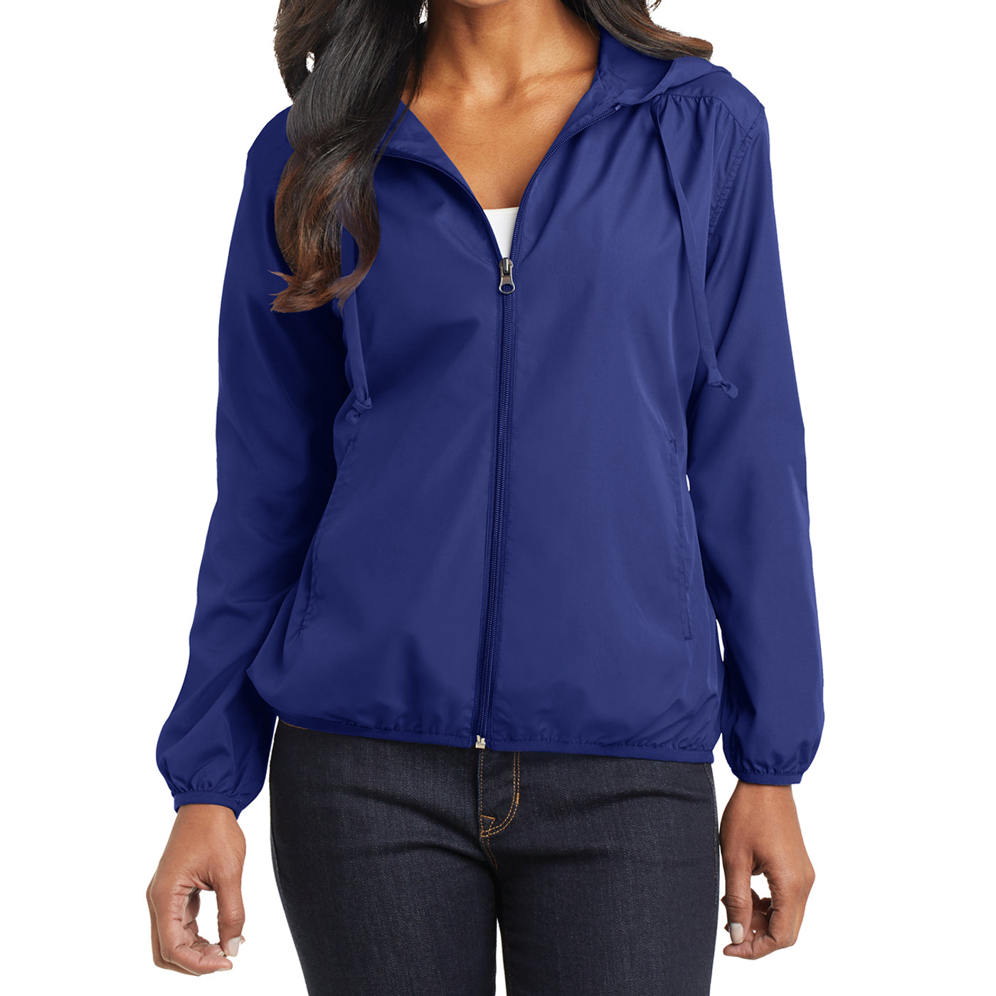 Women's Hooded Essential Jacket - Mediterranean Blue - Front