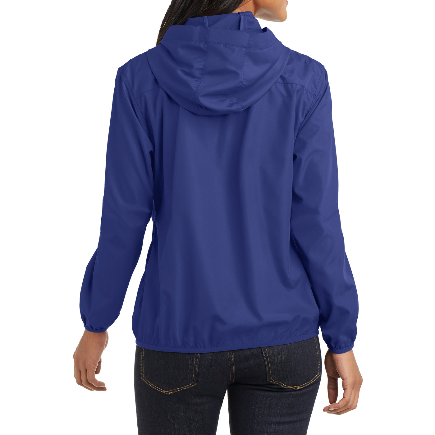 Women's Hooded Essential Jacket - Mediterranean Blue - Back