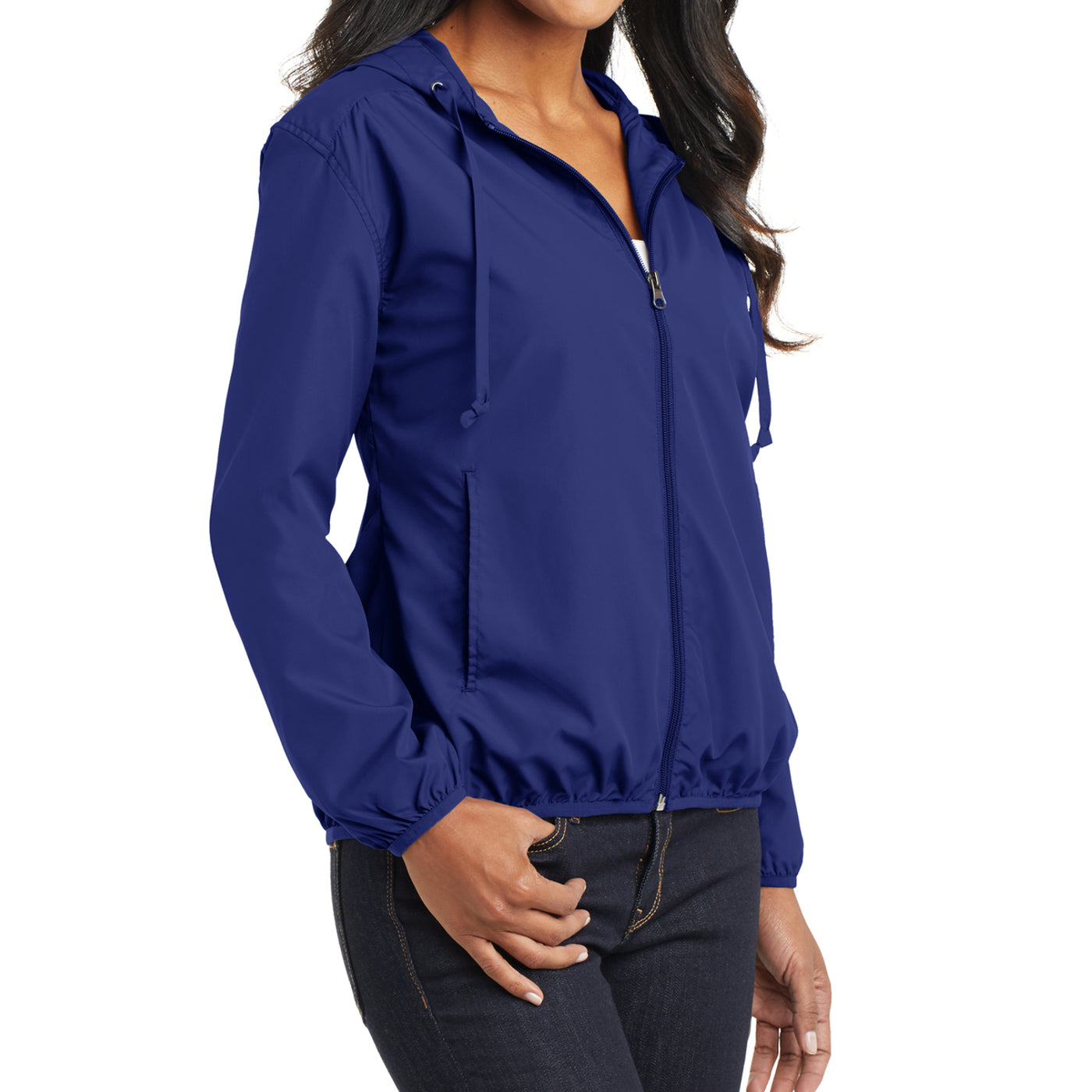 Women's Hooded Essential Jacket - Mediterranean Blue - Side