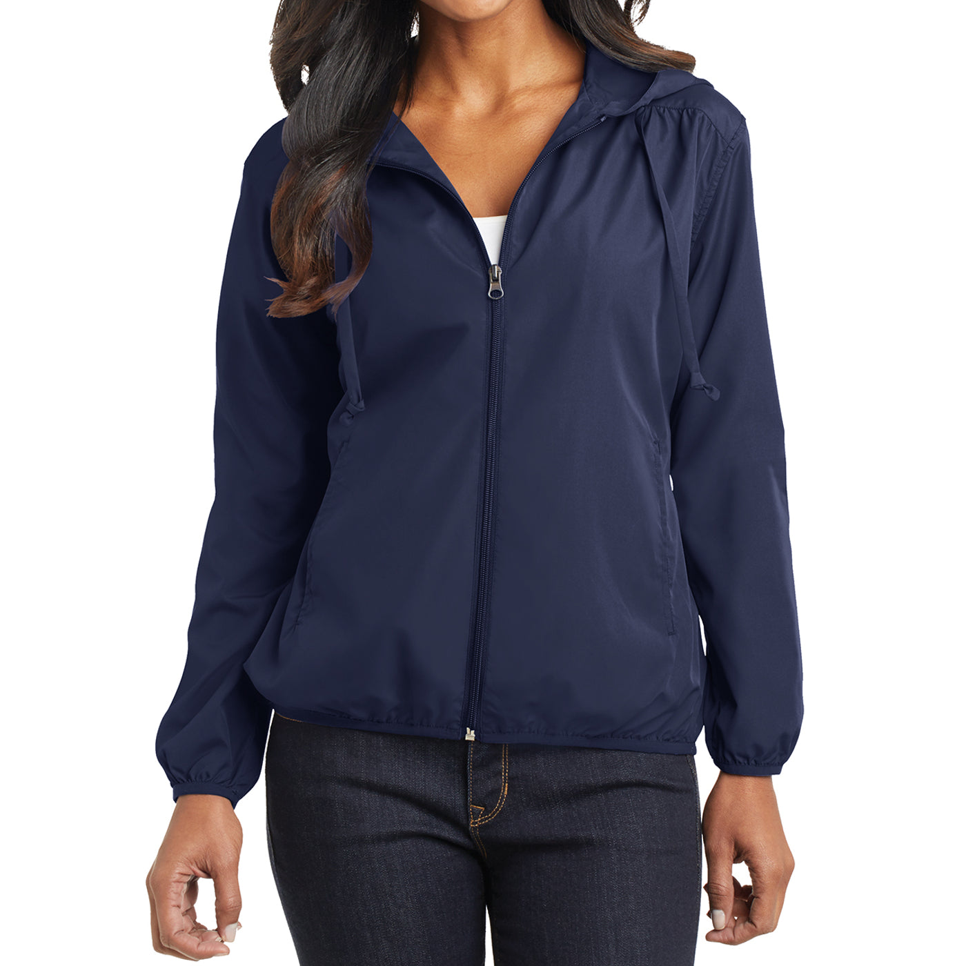 Women's Hooded Essential Jacket - True Navy - Front