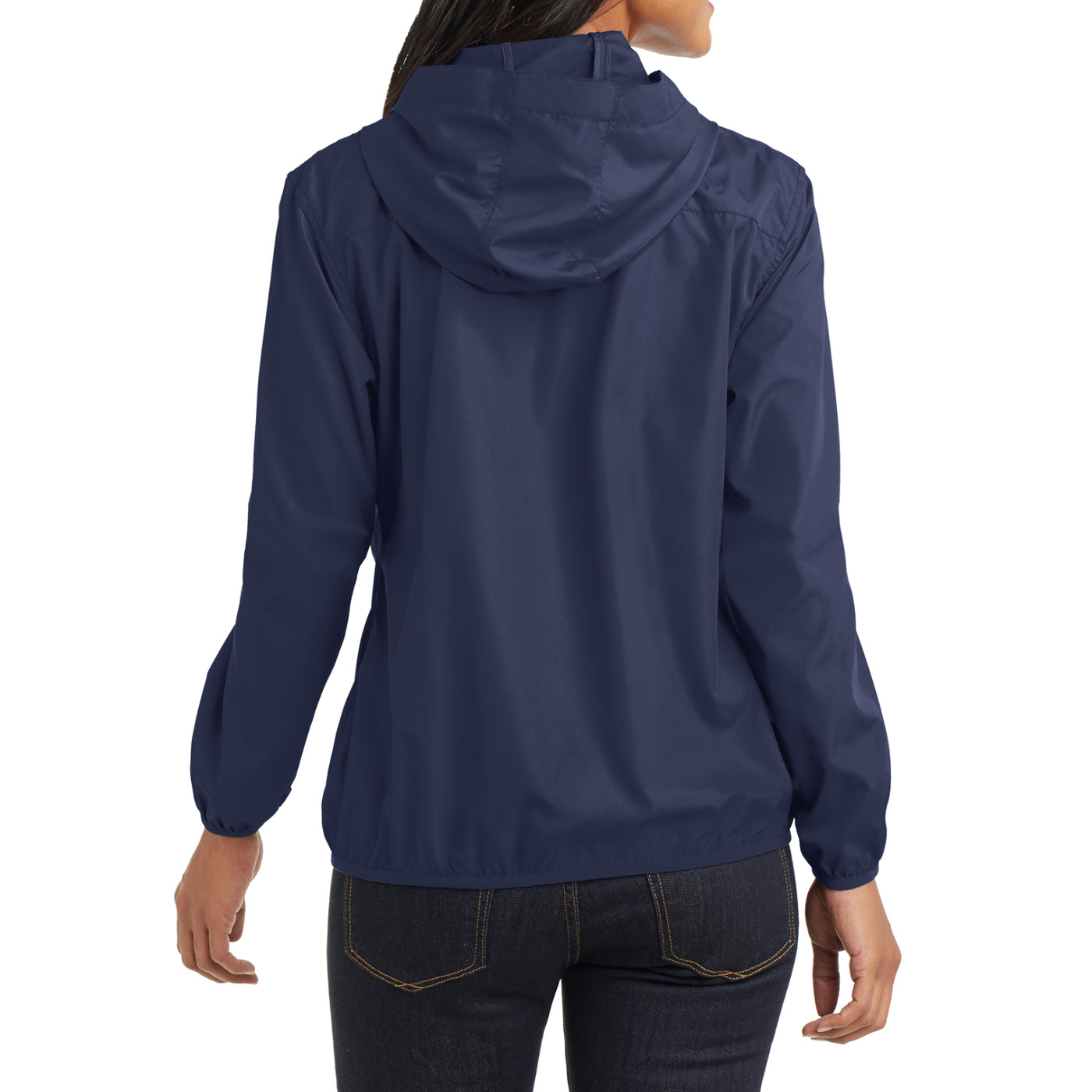Women's Hooded Essential Jacket - True Navy - Back