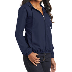 Women's Hooded Essential Jacket - True Navy - Side
