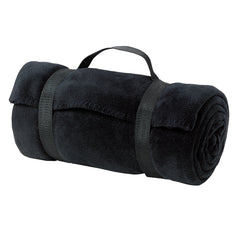 Value Fleece Blanket with Strap - Black