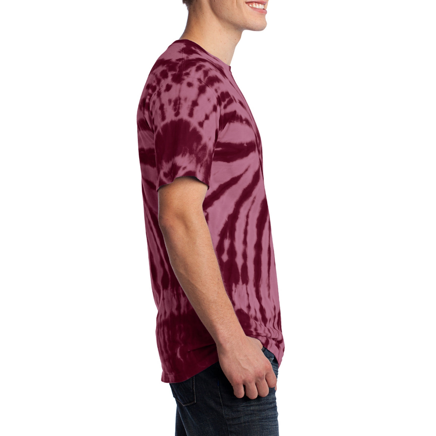 Men's Tie-Dye Tee - Maroon - Side