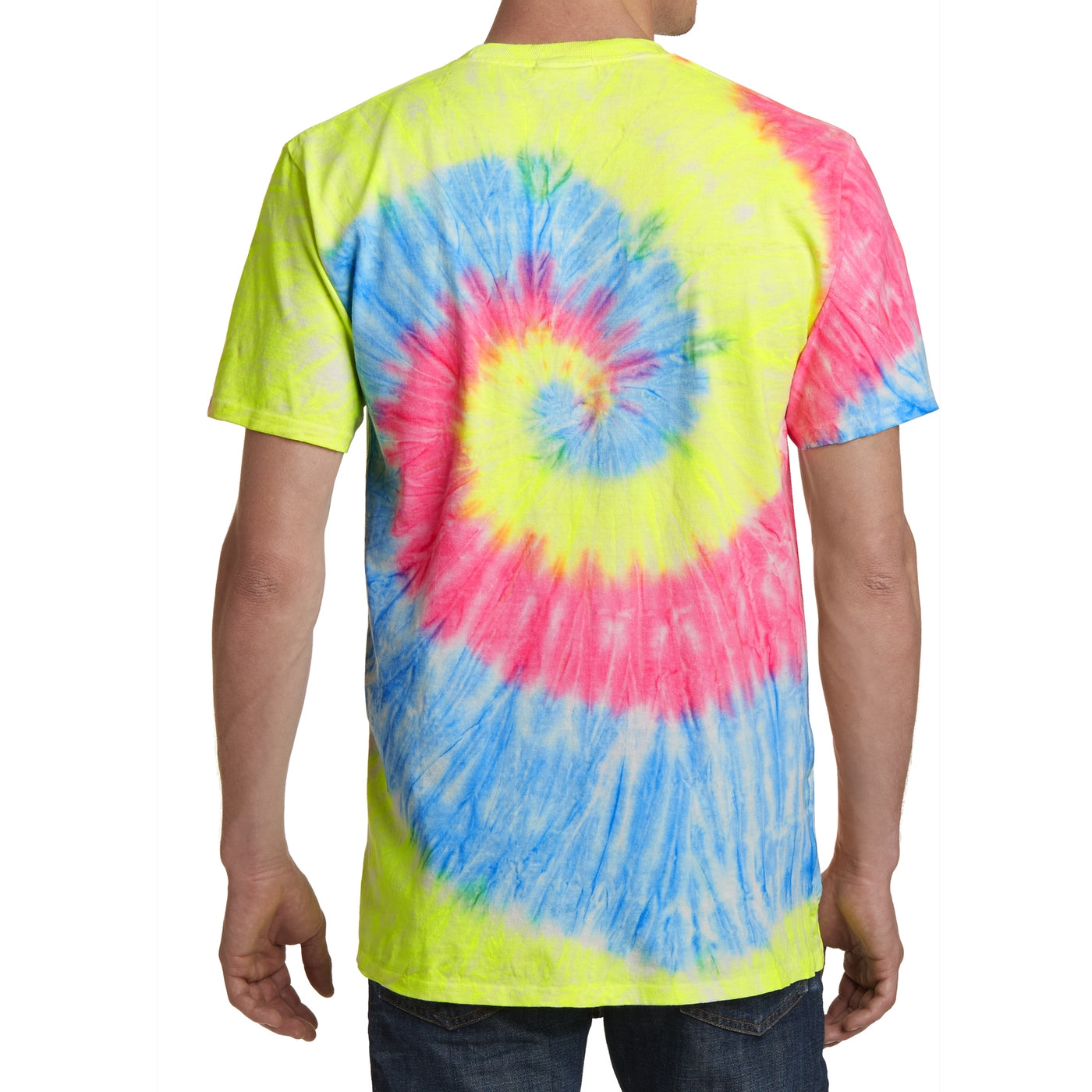 Men's Tie-Dye Tee - Neon Rainbow - Back