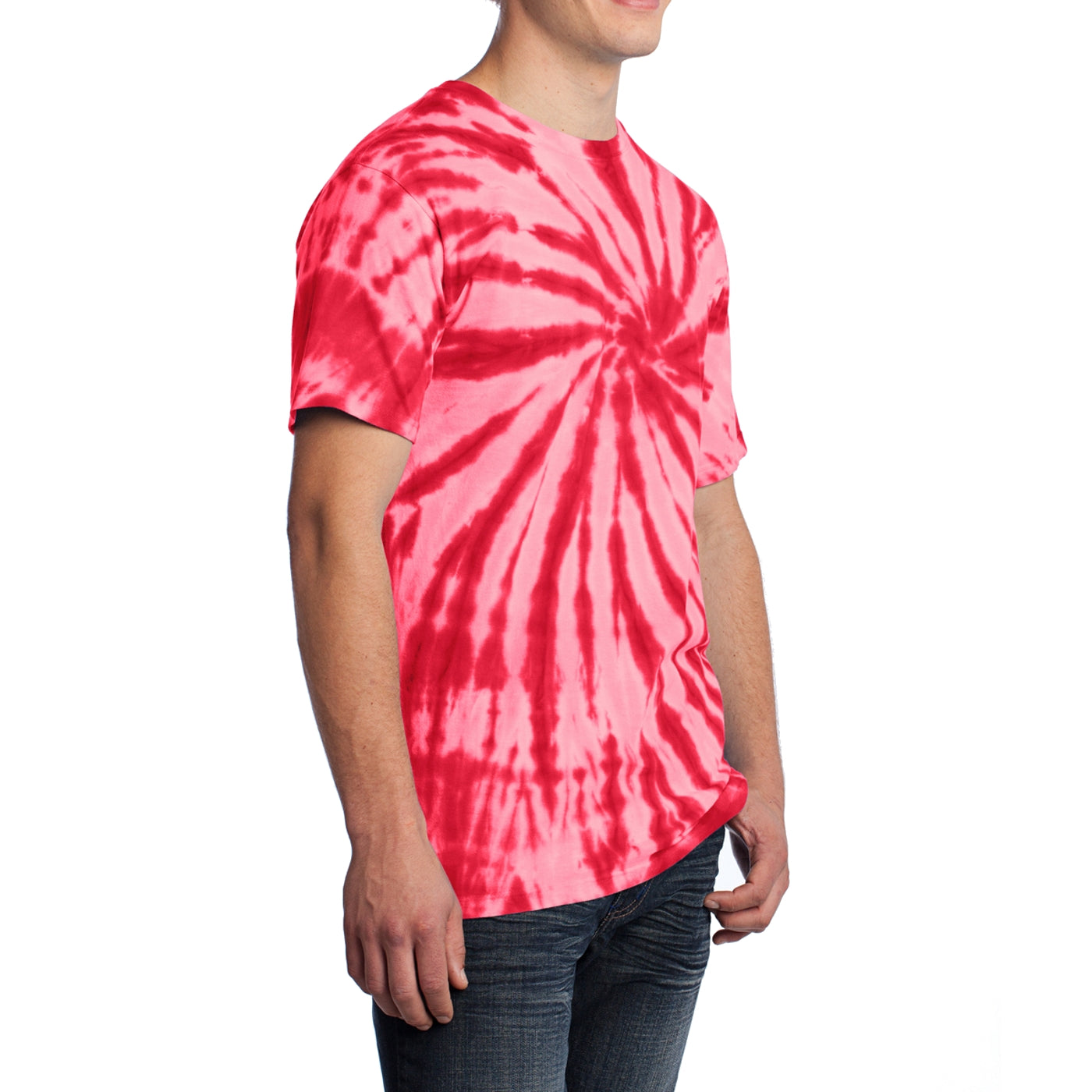 Men's Tie-Dye Tee - Red - Side