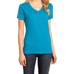 Ladies Perfect Weight V-Neck Tee - Bright Turquoise - Front