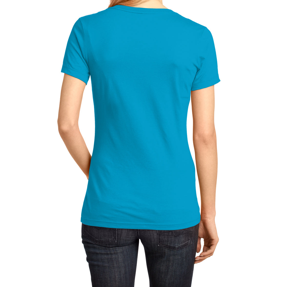 Ladies Perfect Weight V-Neck Tee - Bright Turquoise - Back