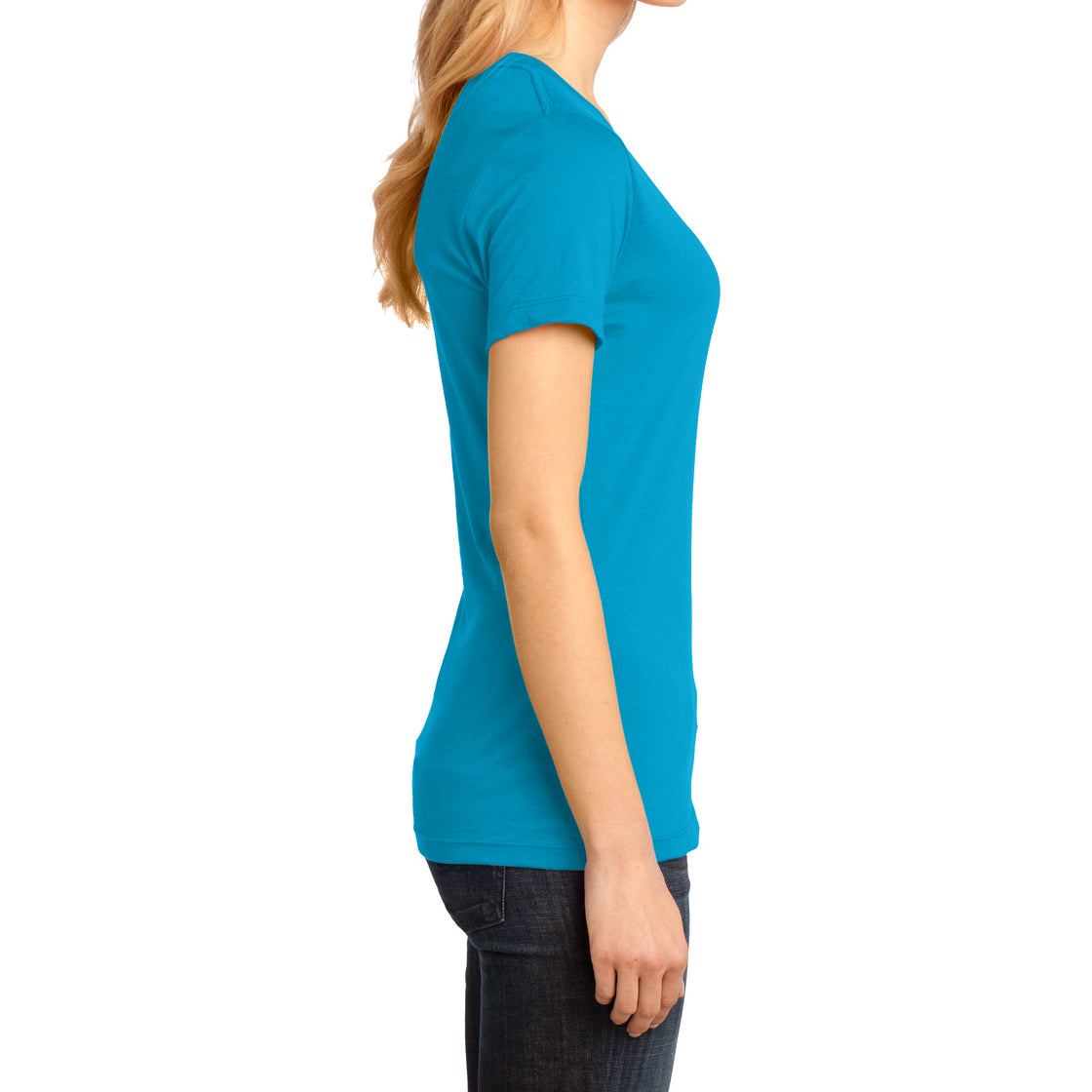Ladies Perfect Weight V-Neck Tee - Bright Turquoise - Side