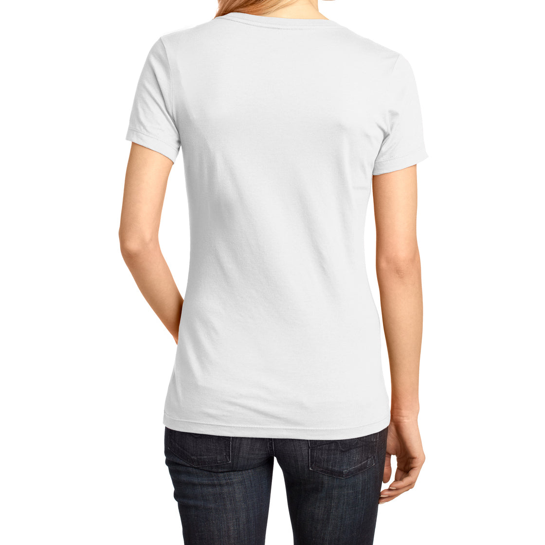 Ladies Perfect Weight V-Neck Tee - Bright White - Back