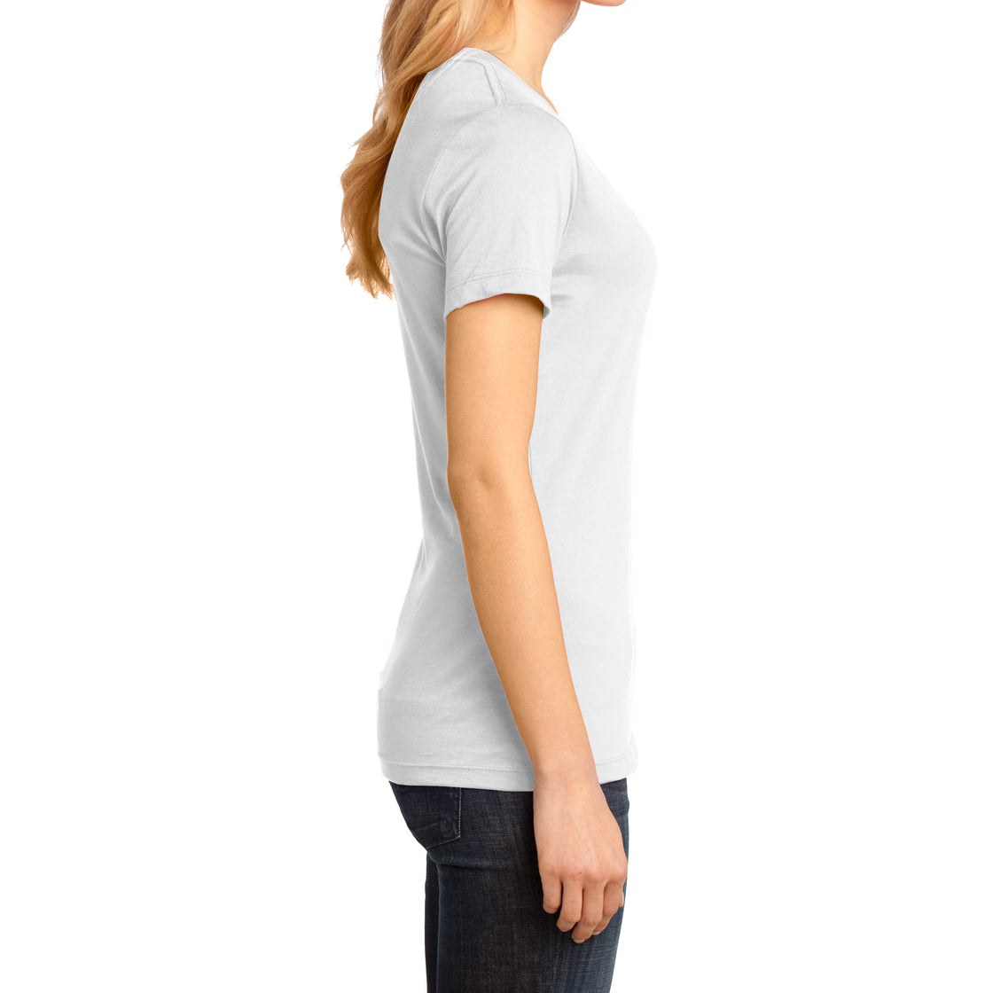 Ladies Perfect Weight V-Neck Tee - Bright White - Side