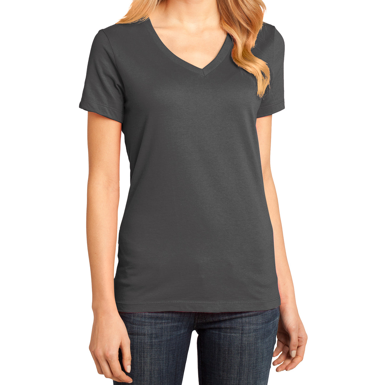 Ladies Perfect Weight V-Neck Tee - Charcoal - Front