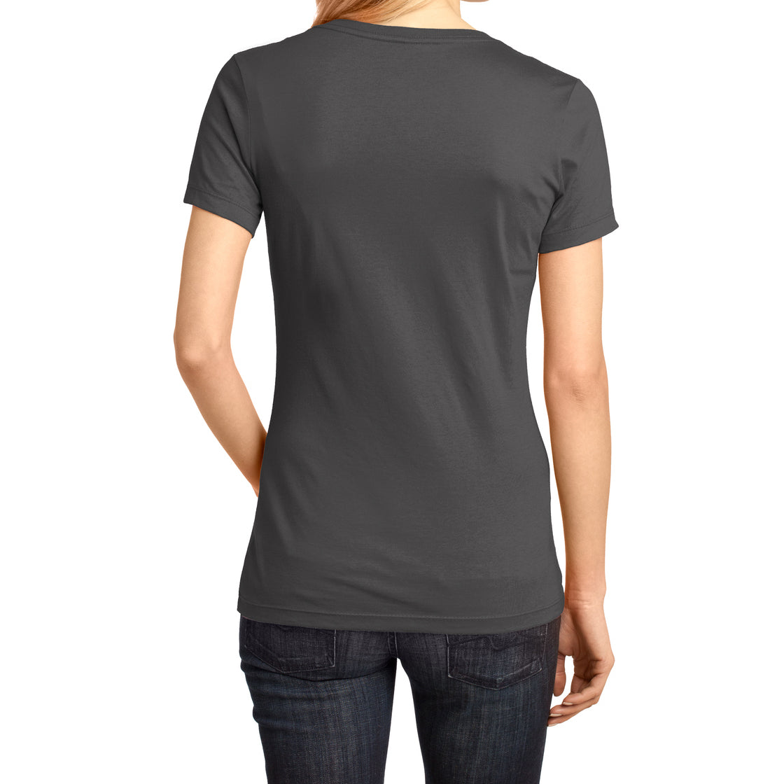 Ladies Perfect Weight V-Neck Tee - Charcoal - Back