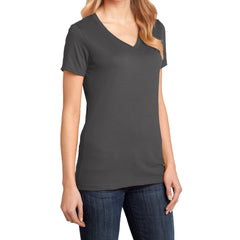 Ladies Perfect Weight V-Neck Tee - Charcoal - Side
