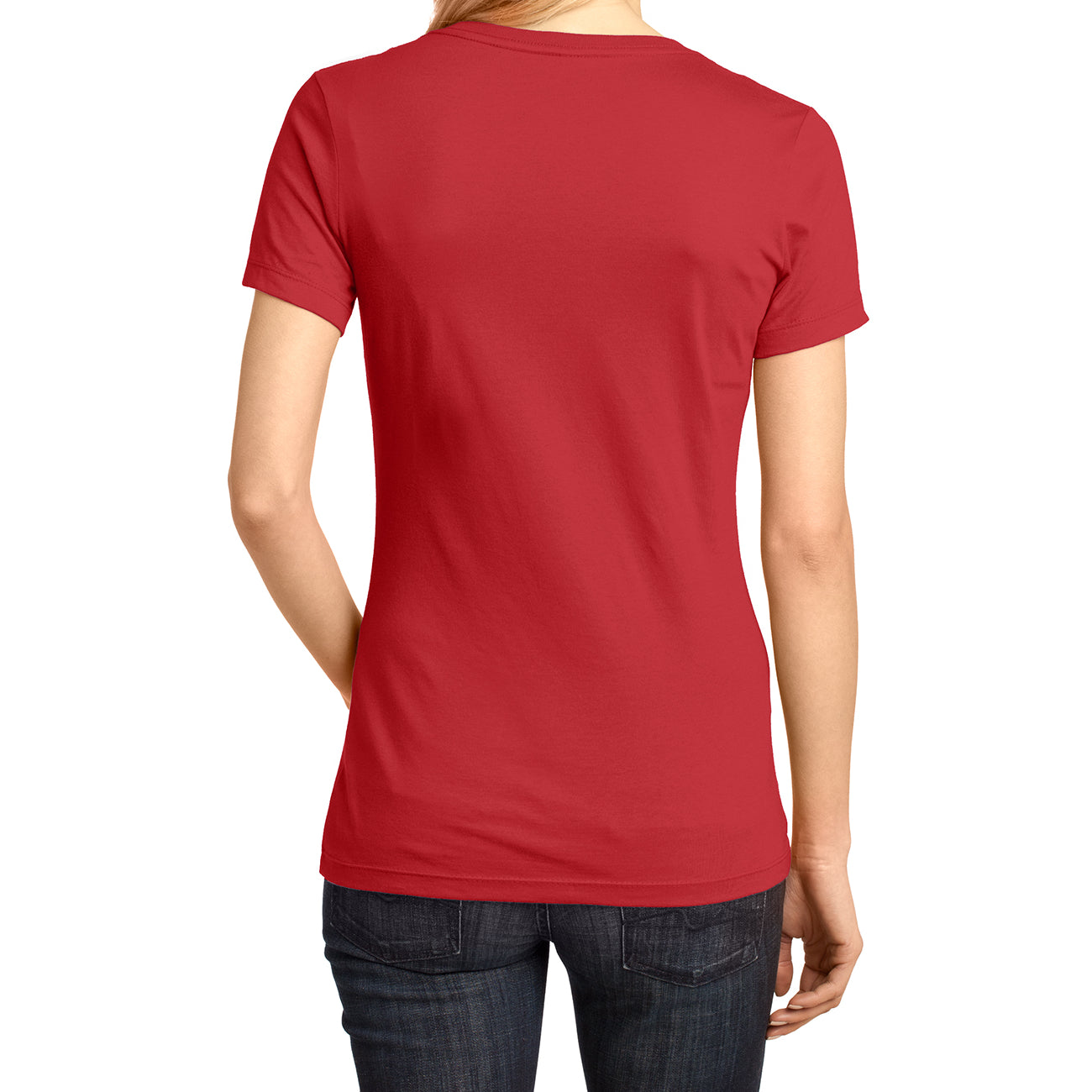 Ladies Perfect Weight V-Neck Tee - Classic Red - Back