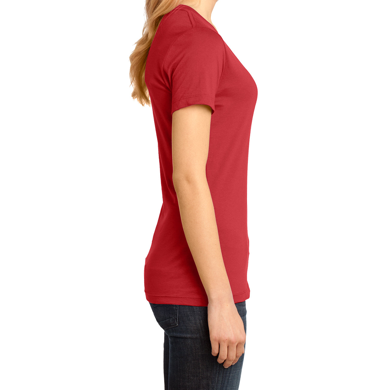 Ladies Perfect Weight V-Neck Tee - Classic Red - Side