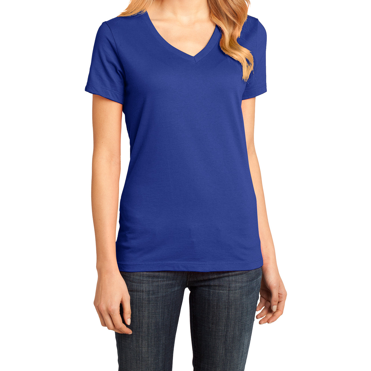 Ladies Perfect Weight V-Neck Tee - Deep Royal - Front