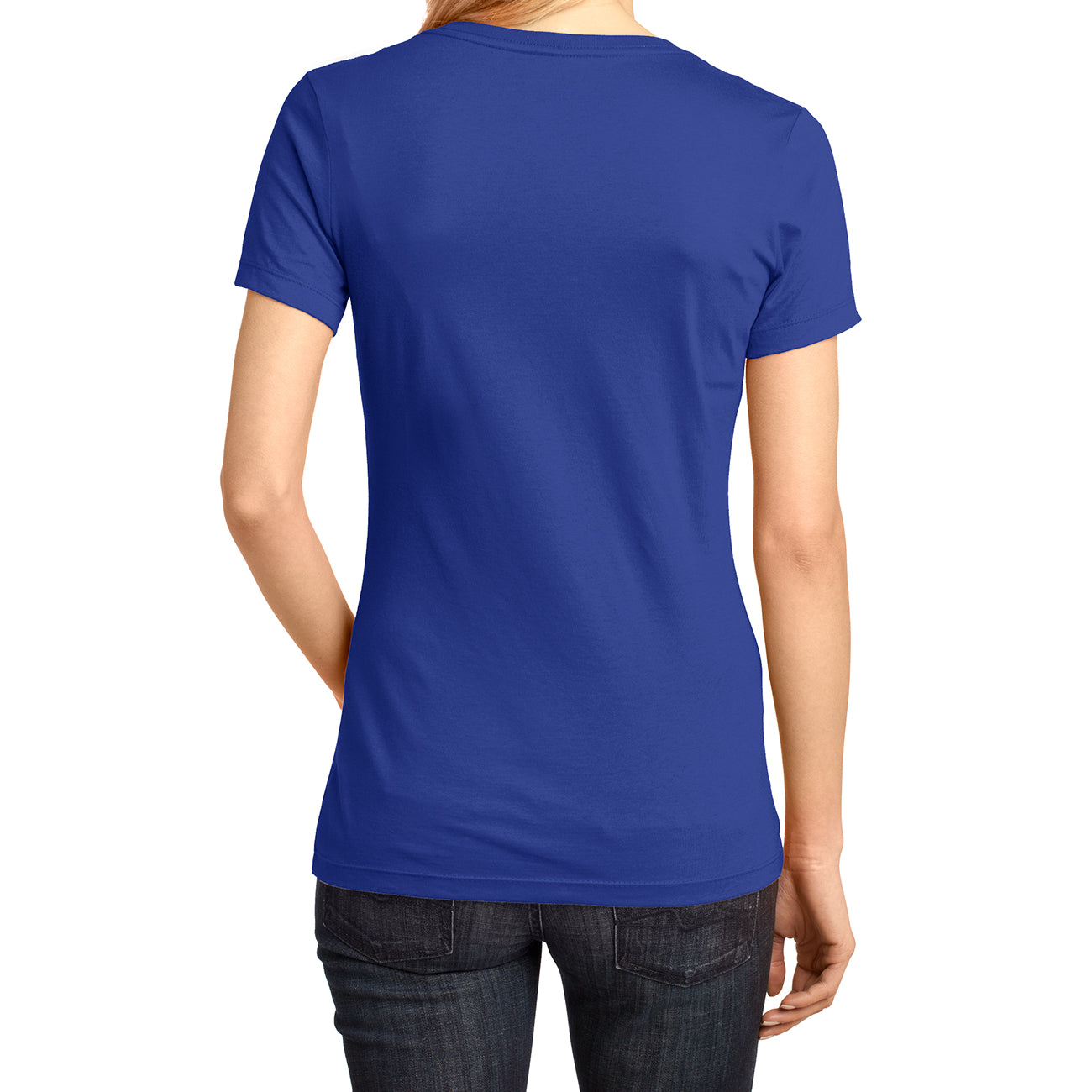 Ladies Perfect Weight V-Neck Tee - Deep Royal - Back