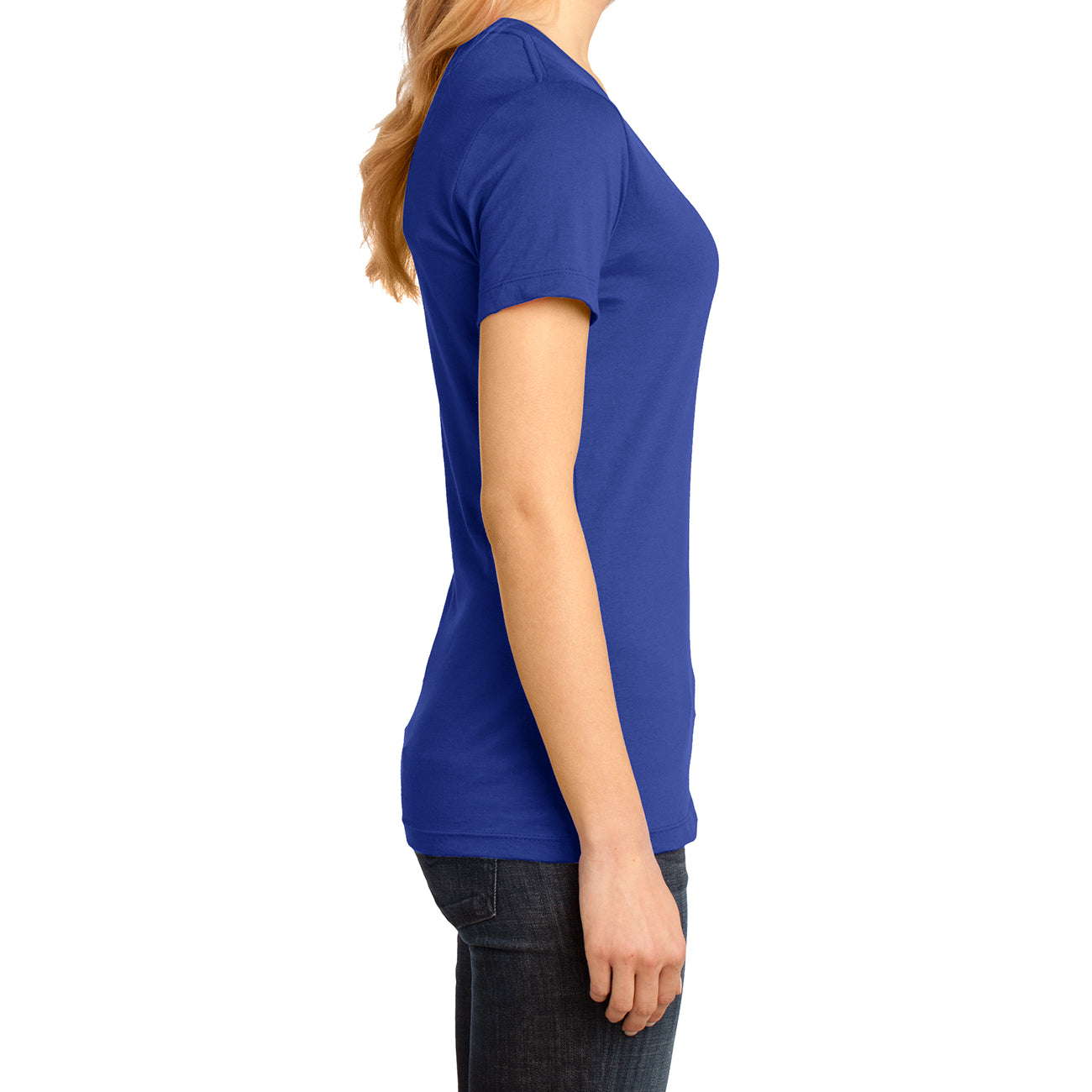 Ladies Perfect Weight V-Neck Tee - Deep Royal - Side