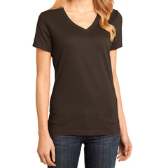 Ladies Perfect Weight V-Neck Tee - Espresso - Front