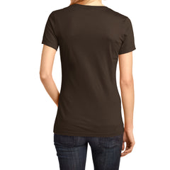 Ladies Perfect Weight V-Neck Tee - Espresso - Back