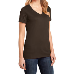 Ladies Perfect Weight V-Neck Tee - Espresso - Side