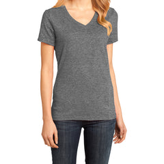 Ladies Perfect Weight V-Neck Tee - Heathered Nickel - Front
