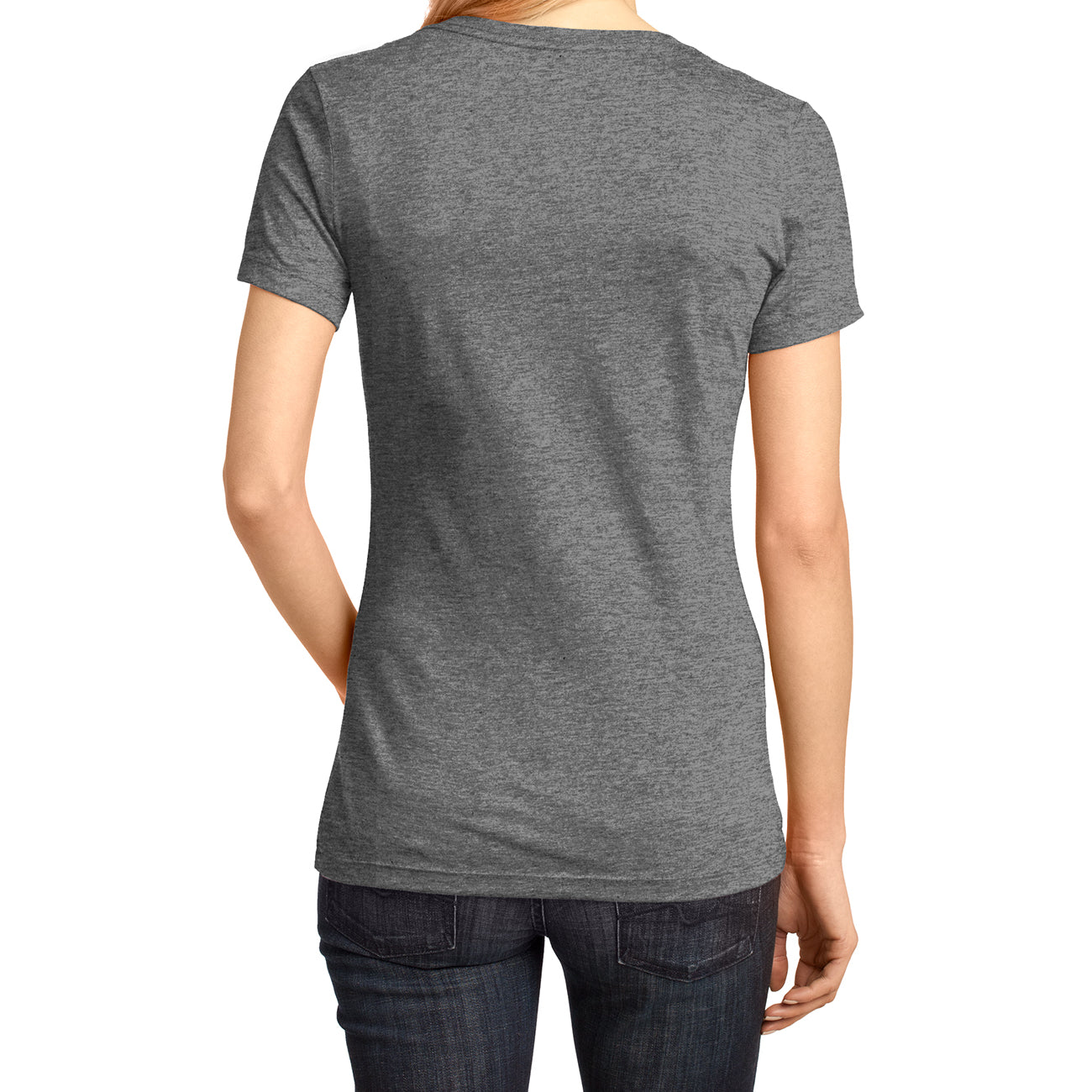 Ladies Perfect Weight V-Neck Tee - Heathered Nickel - Back