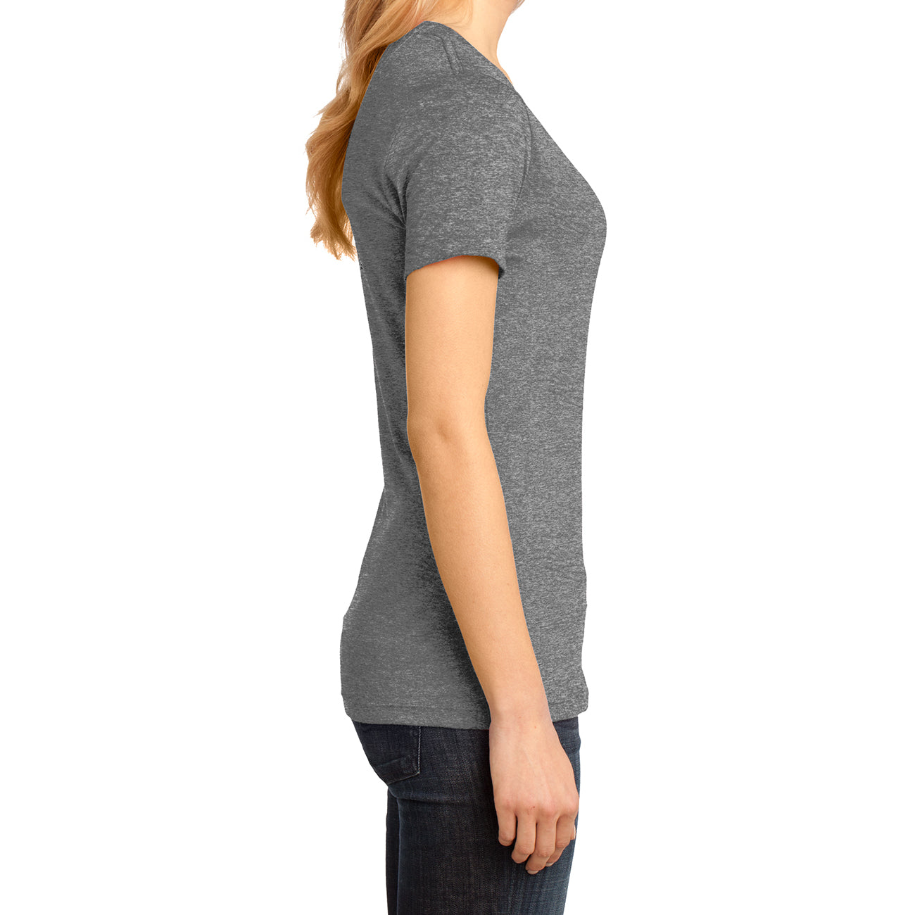 Ladies Perfect Weight V-Neck Tee - Heathered Nickel - Side