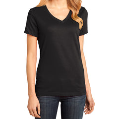 Ladies Perfect Weight V-Neck Tee - Jet Black - Front
