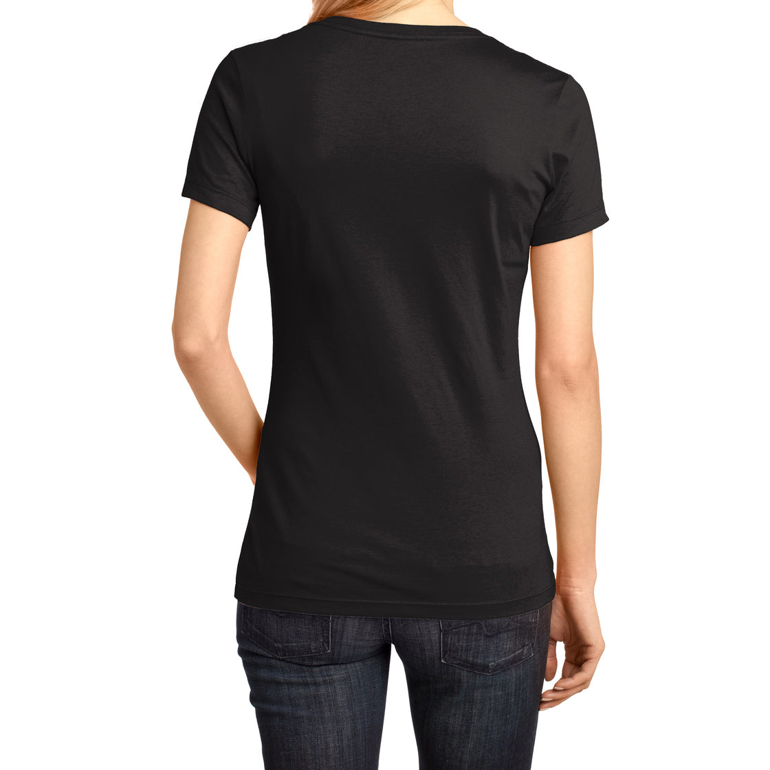 Ladies Perfect Weight V-Neck Tee - Jet Black - Back