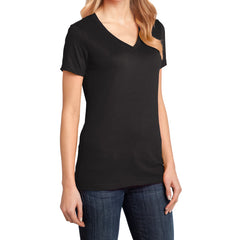 Ladies Perfect Weight V-Neck Tee - Jet Black - Side