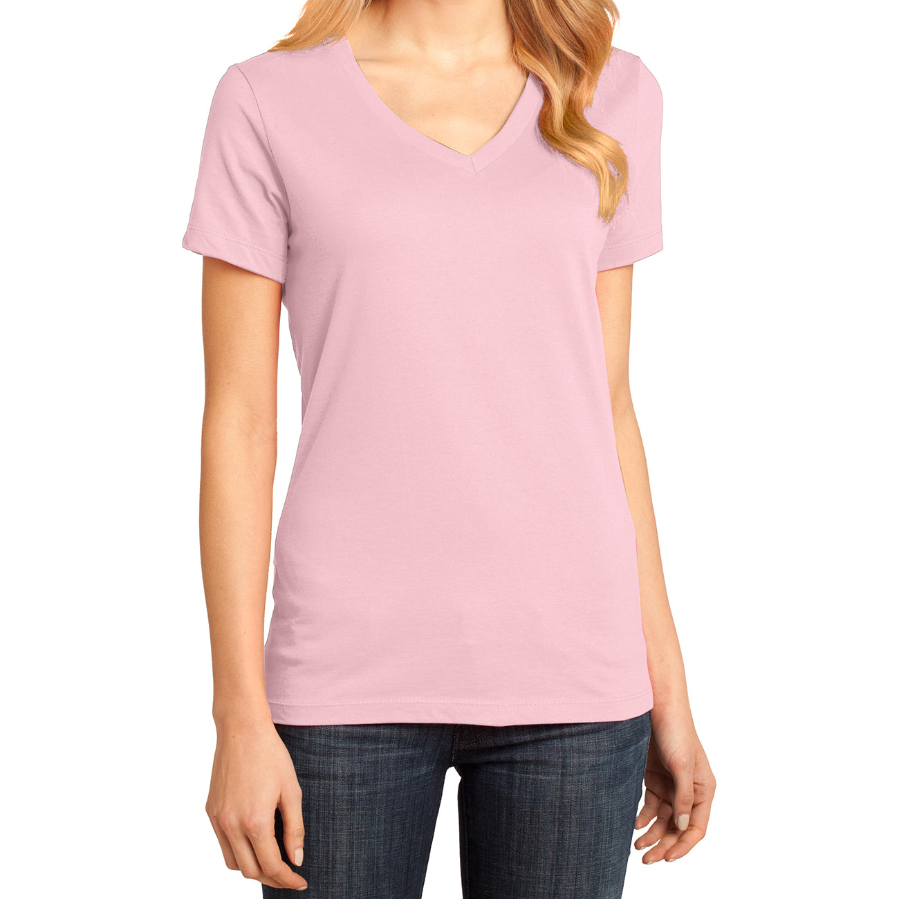 Ladies Perfect Weight V-Neck Tee - Light Pink - Front