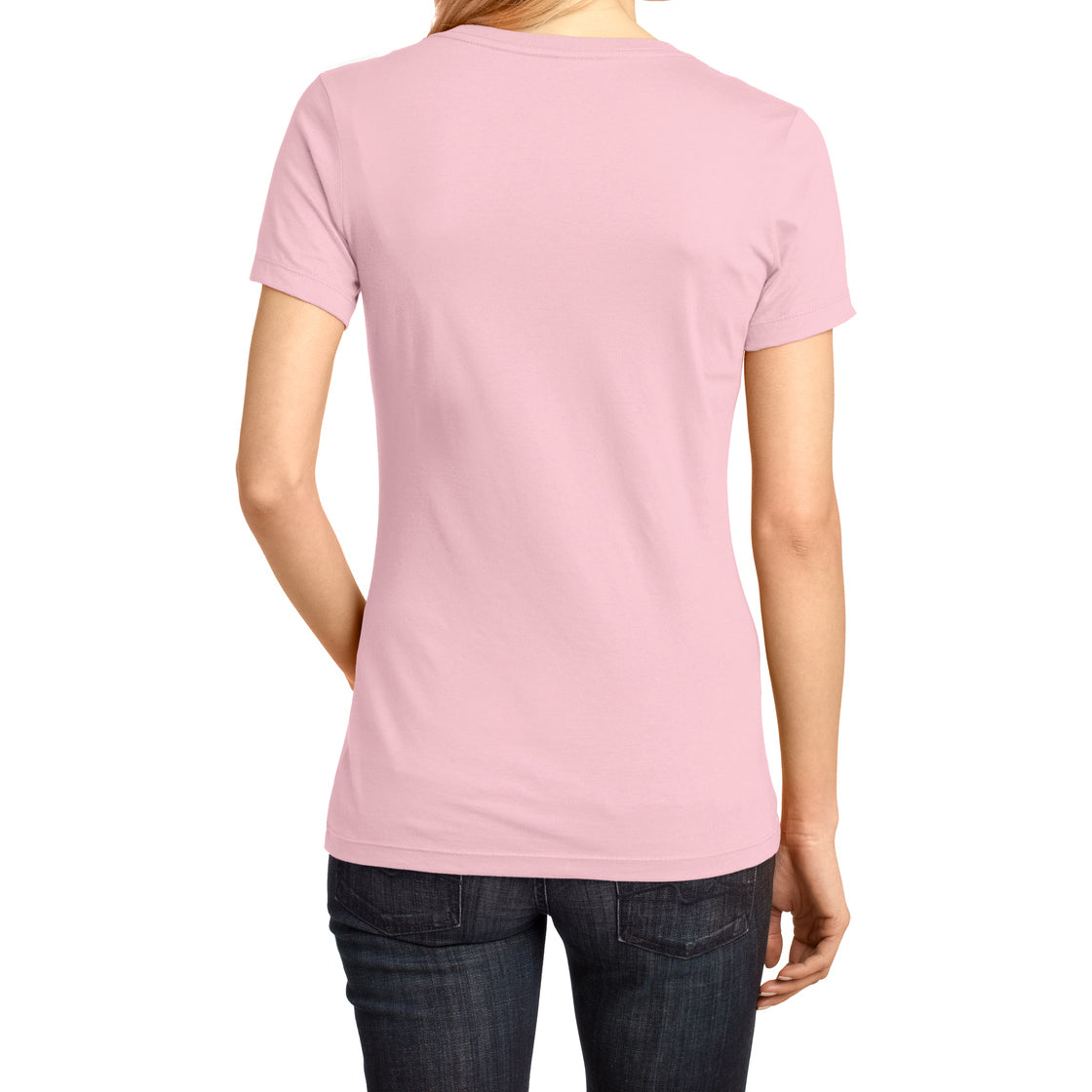 Ladies Perfect Weight V-Neck Tee - Light Pink - Back
