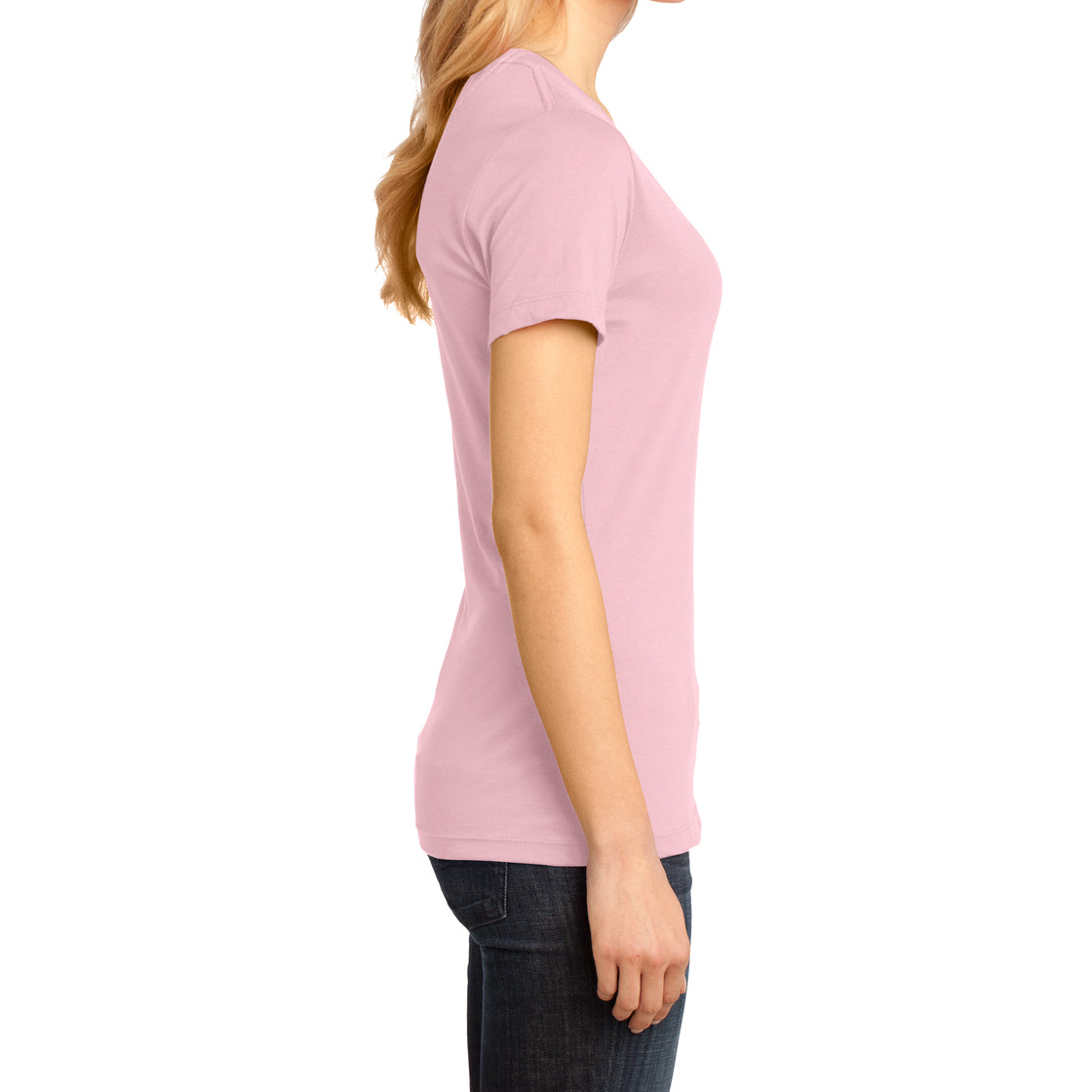 Ladies Perfect Weight V-Neck Tee - Light Pink - Side